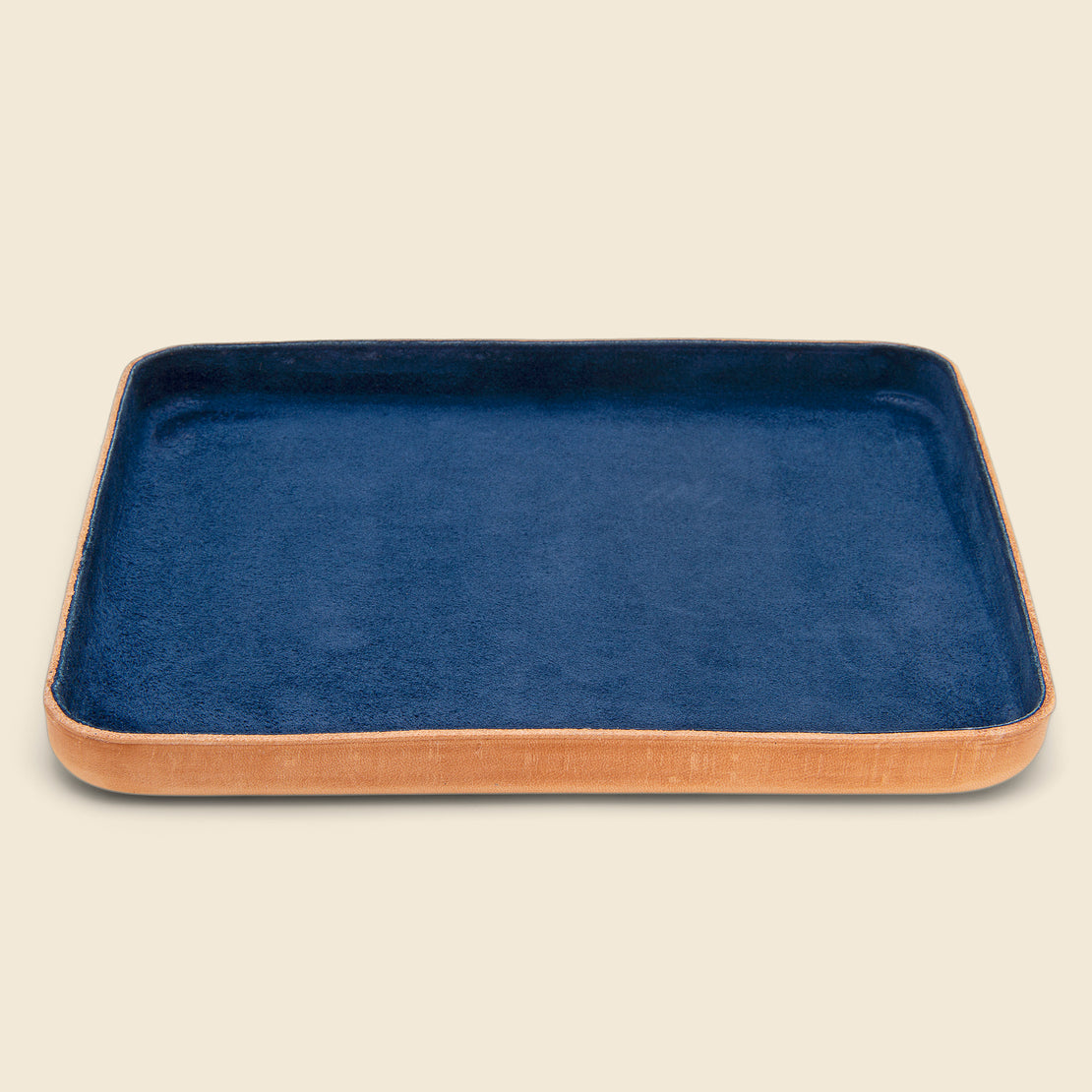 Home Large Leather Tray - Navy