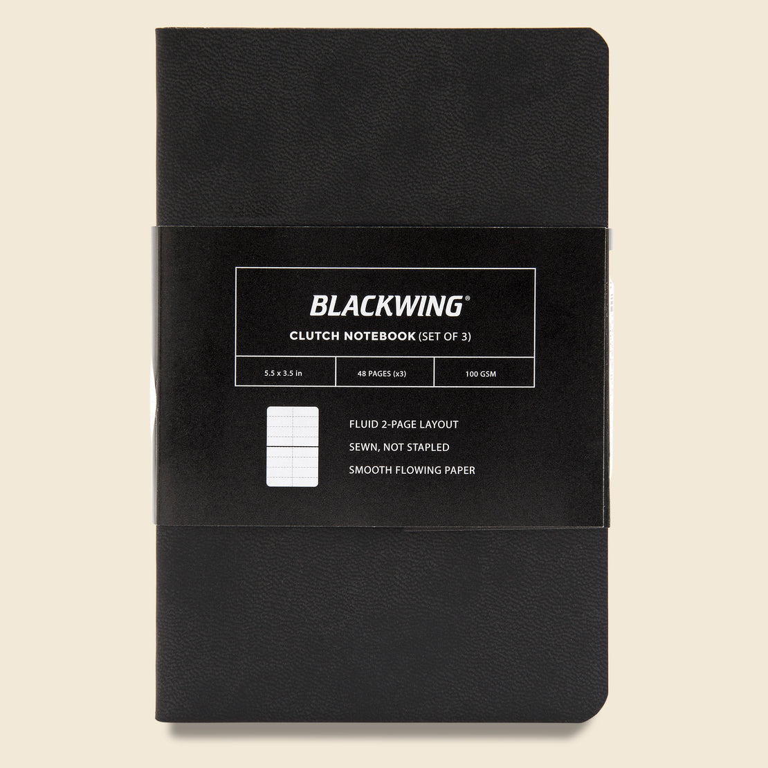 Paper Goods Blackwing Clutch Notebook (3-Pack, Ruled)