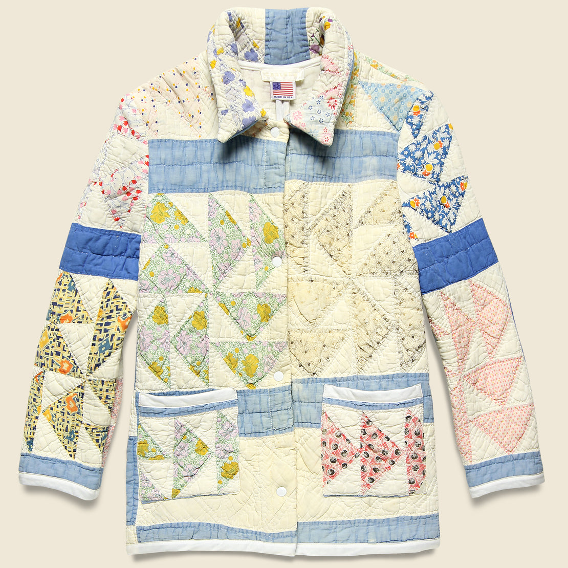 Carleen Moving Day Quilt Jacket - Blue/Green/Pink