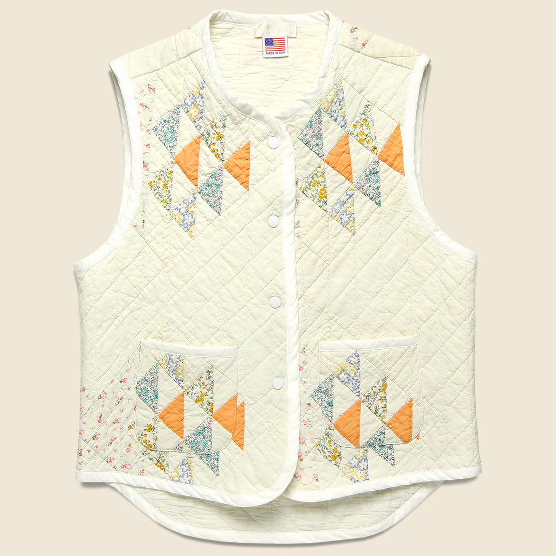 Carleen Quilt Vest - Natural/Peach/Light Blue