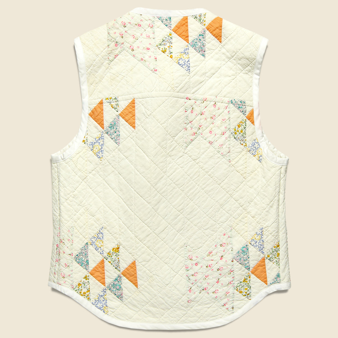 Quilt Vest - Natural/Peach/Light Blue