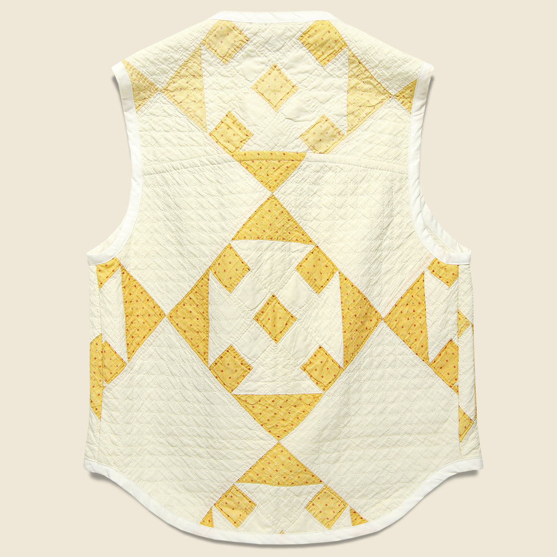 Quilt Vest - Natural/Yellow