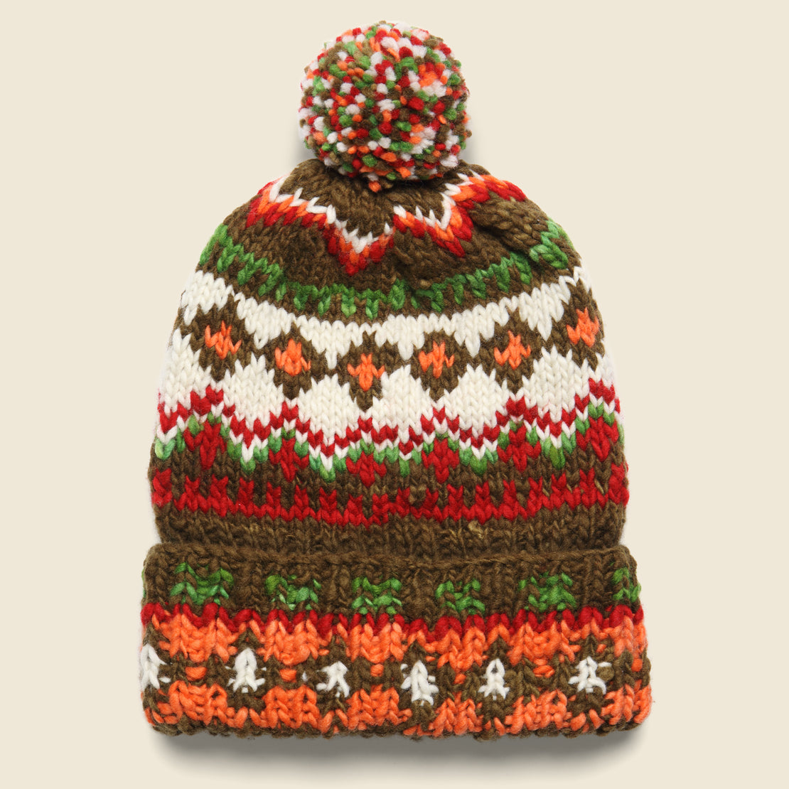 Chamula Double Cuff Fair Isle Beanie - Brown Heather