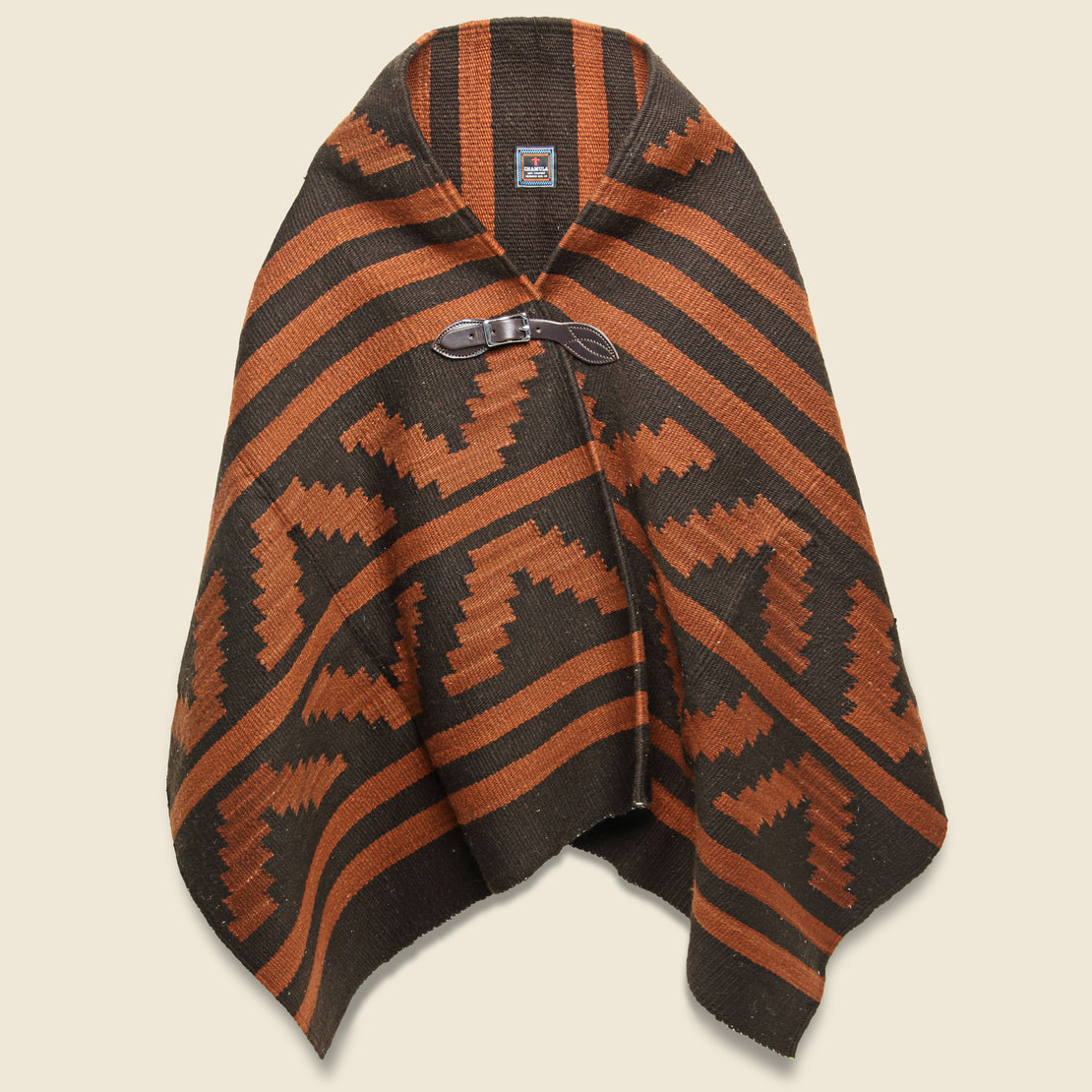 Chamula Wool Blanket Poncho - Chocolate/Rust