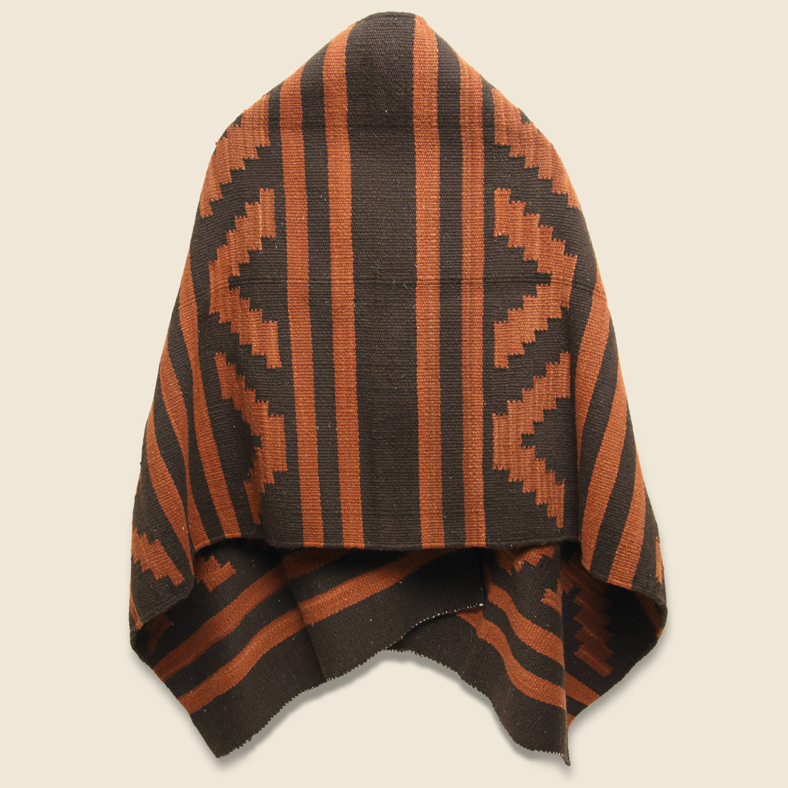 Wool Blanket Poncho - Chocolate/Rust