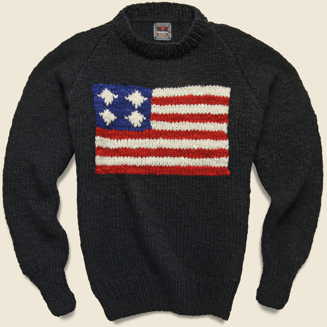 Chamula Flag Pullover Sweater - Black