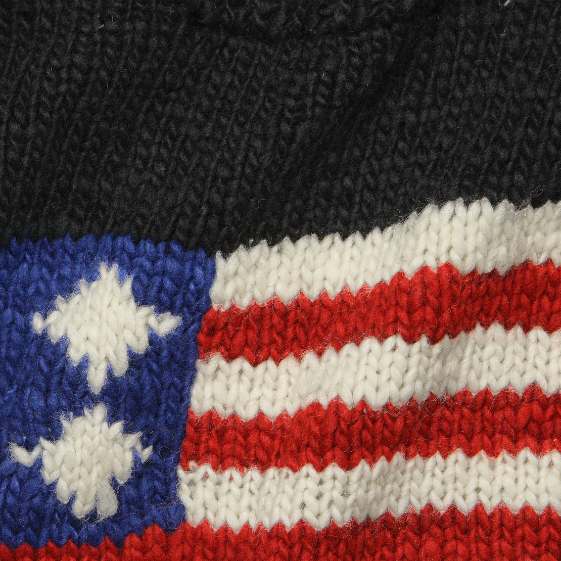 Flag Pullover Sweater - Black
