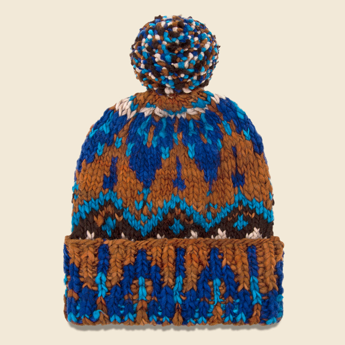 Chamula Double Cuff Fair Isle Cap - Intense Royal