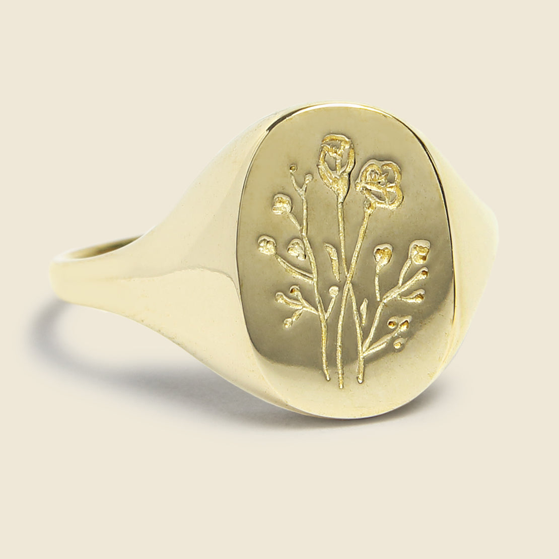Claus Wildflower Signet Ring - Brass