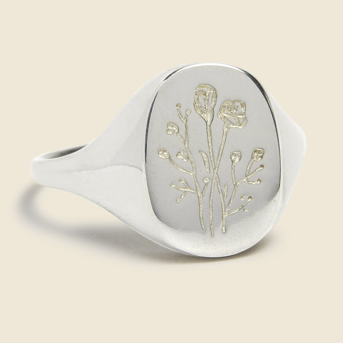 Claus Wildflower Signet Ring - Silver