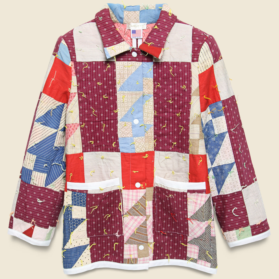 Carleen Moving Day Quilt Jacket - Yellow Tassle/Maroon/Red Puzzle