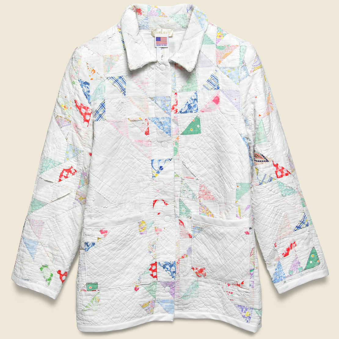 Carleen Moving Day Quilt Jacket - White/Pastel Flying Geese