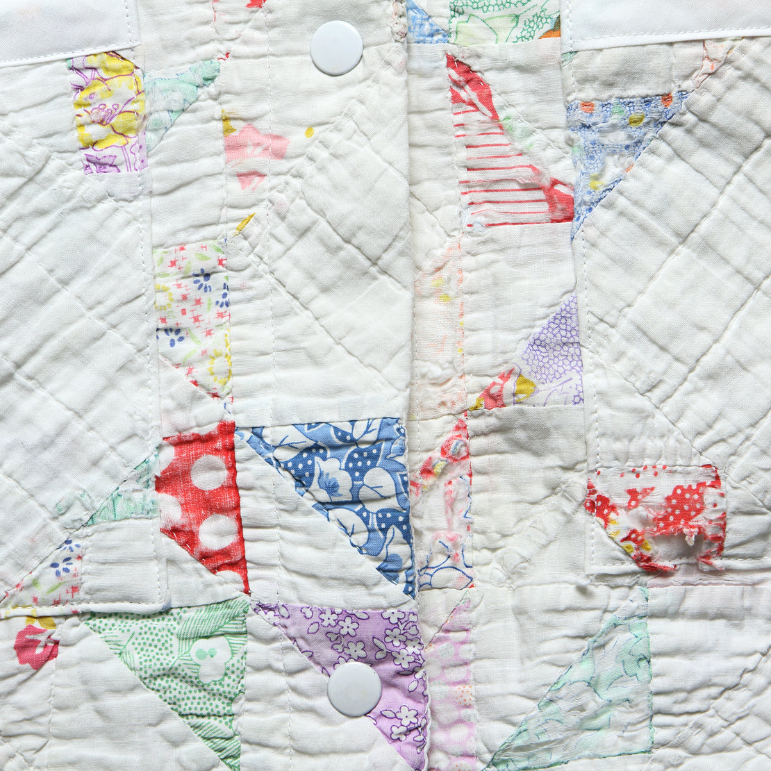 Moving Day Quilt Jacket - White/Pastel Flying Geese