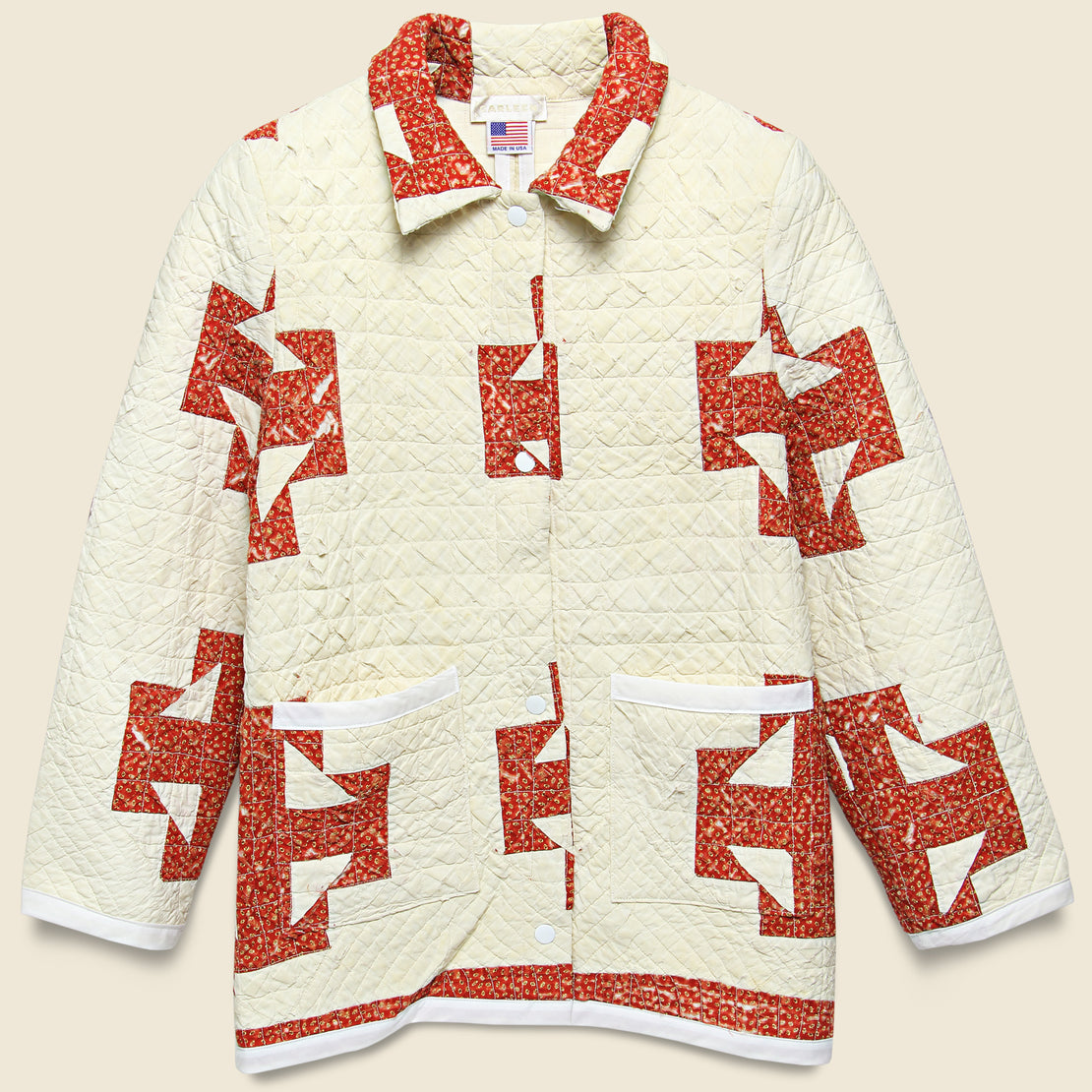 Carleen Moving Day Quilt Jacket - Red/Natural Stars