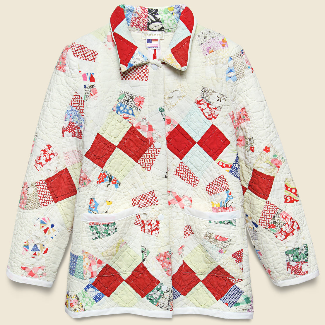 Carleen Moving Day Quilt Jacket - Red/Natural/Multi