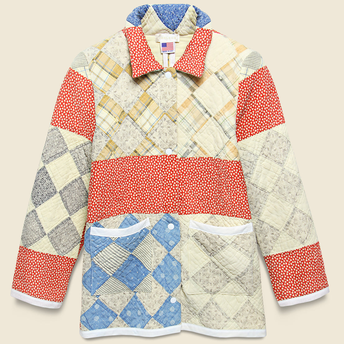 Carleen Moving Day Quilt Jacket - Red/Blue/Natural