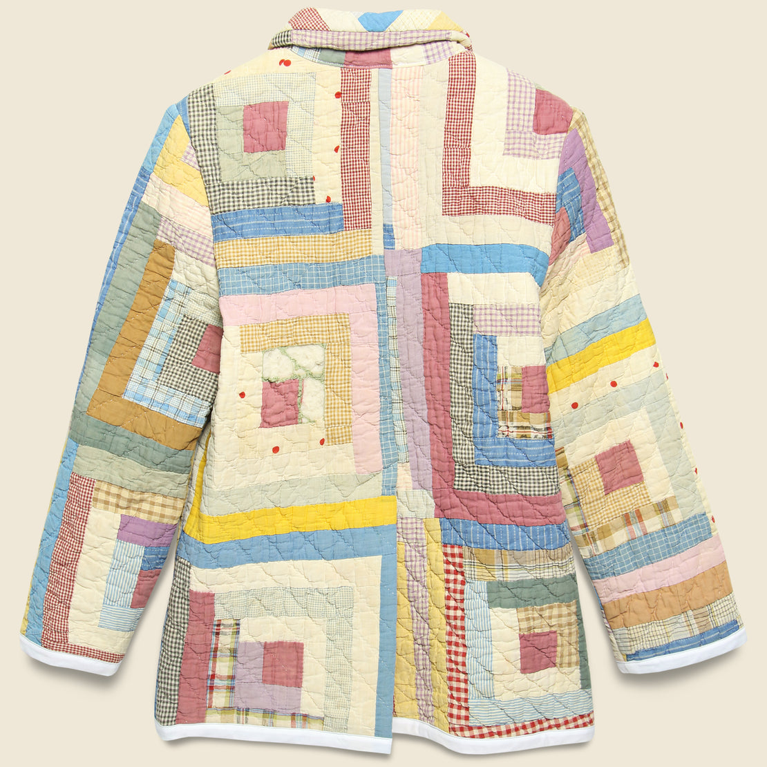 Moving Day Quilt Jacket - Mustard/Neutral Log Cabin