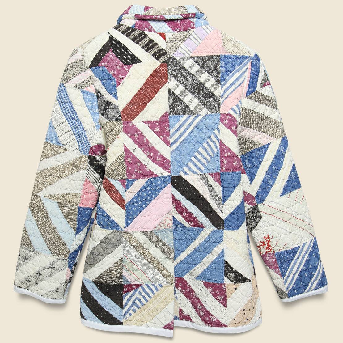 Moving Day Quilt Jacket - Natural/Navy/Plum Yankee Puzzle