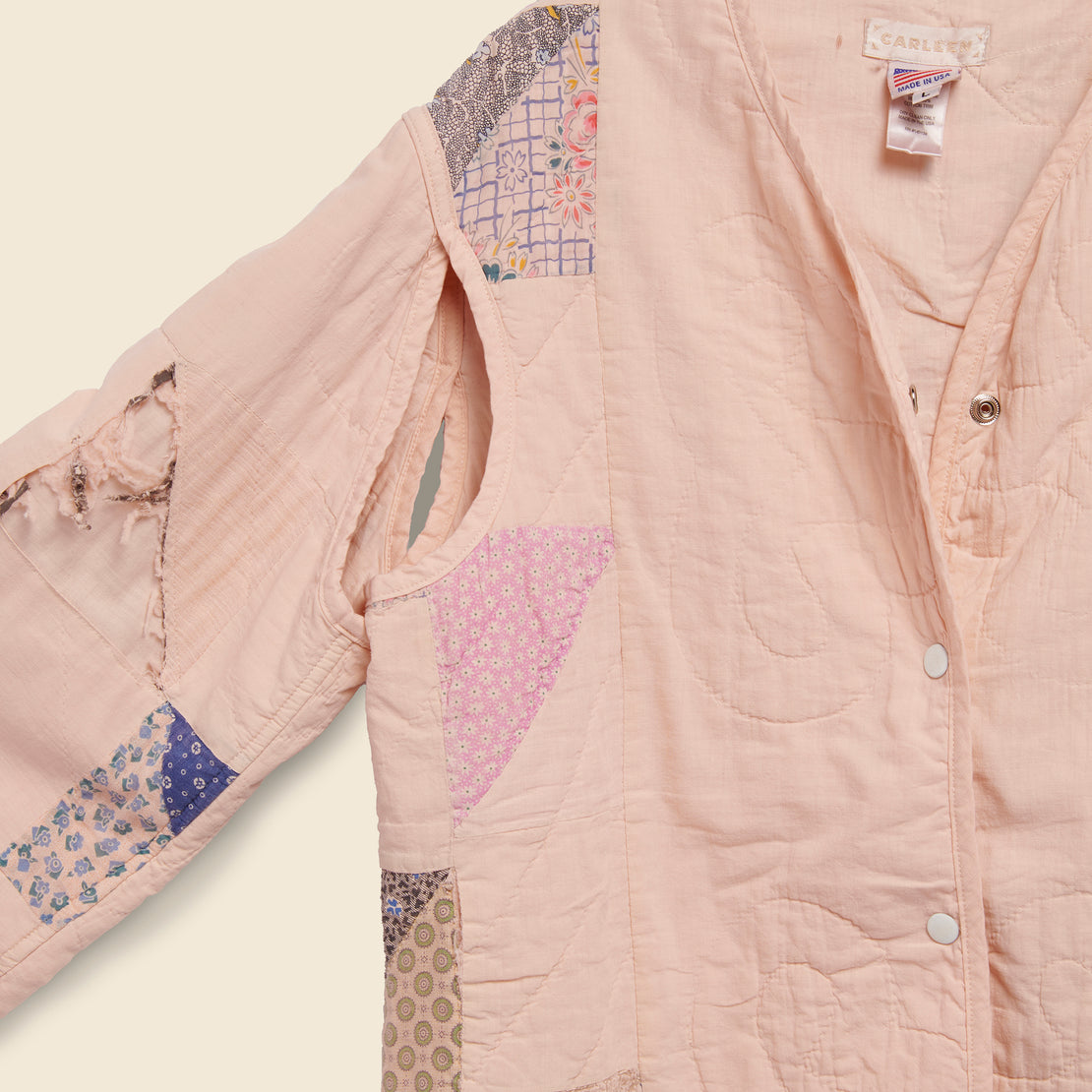 Quilt Liner Jacket - Pink Overdye, Triangle Sides