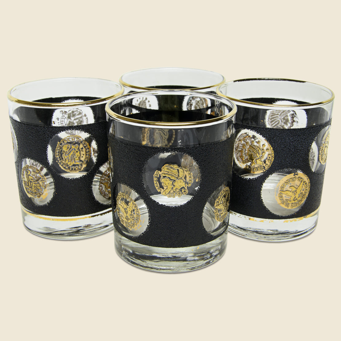 Vintage Set of Vintage Coin Glasses