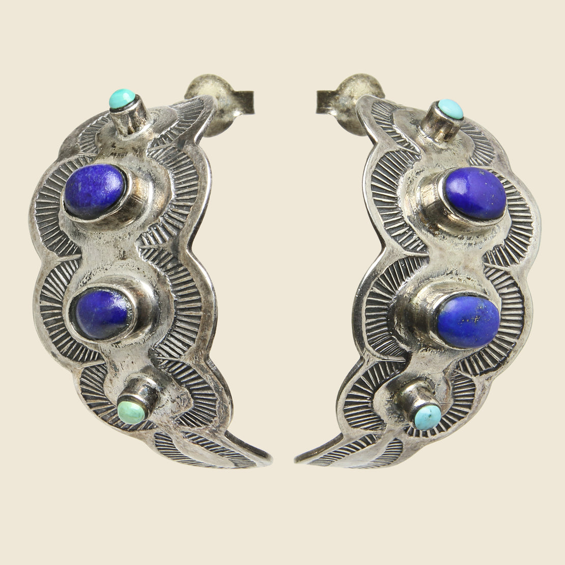 Vintage Crescent Post Earrings - Sterling/Lapis/Turquoise