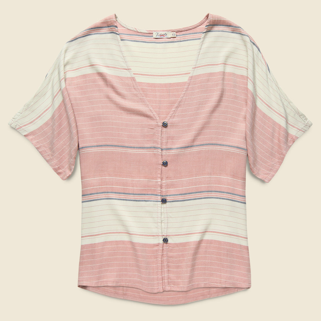 Faherty Analeigh Top - Rosewood Stripe