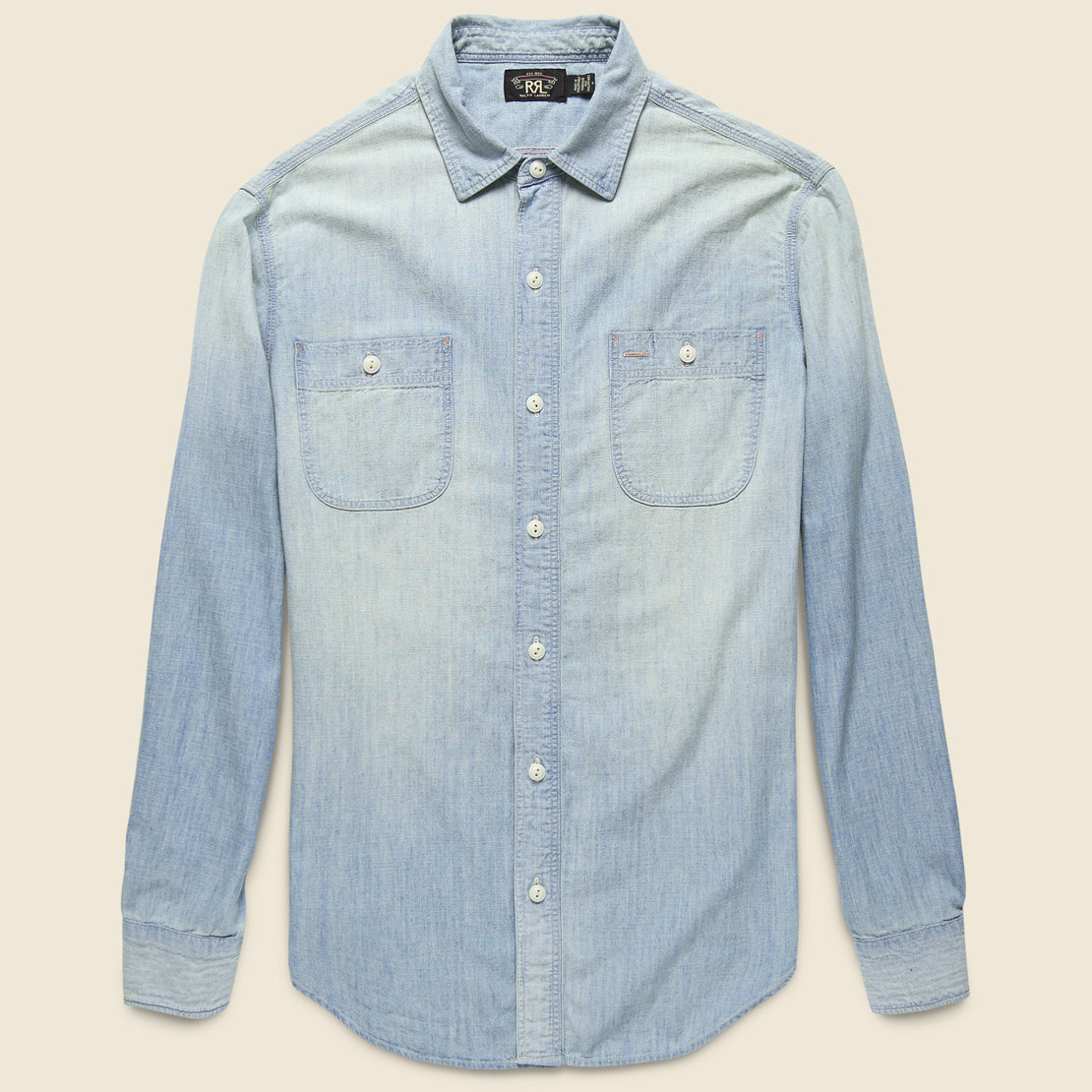 RRL Farrell Chambray Workshirt - Medium Wash