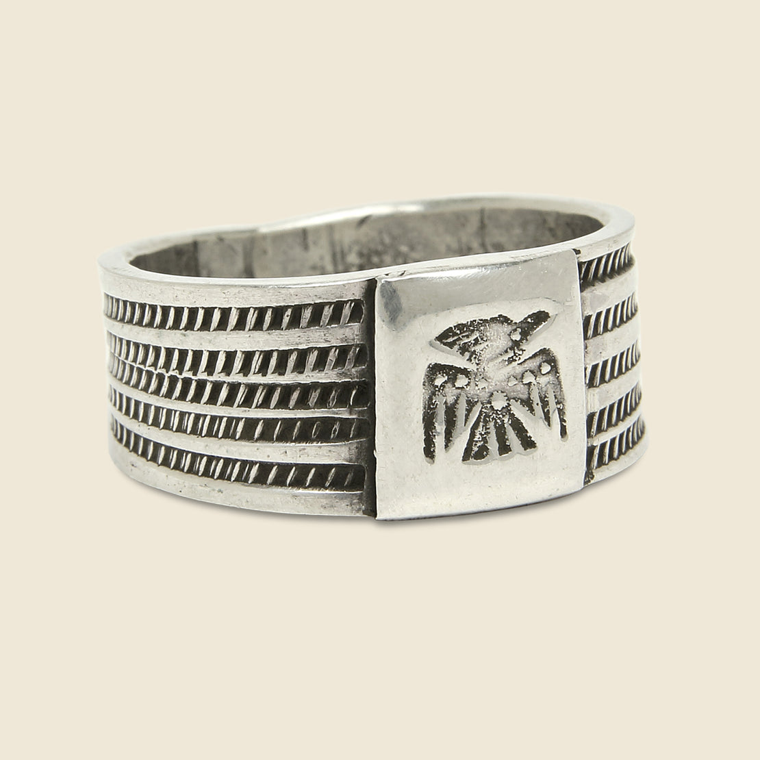 Jonathan Day Silversmith Coin Silver Cigar Ring - Thunderbird