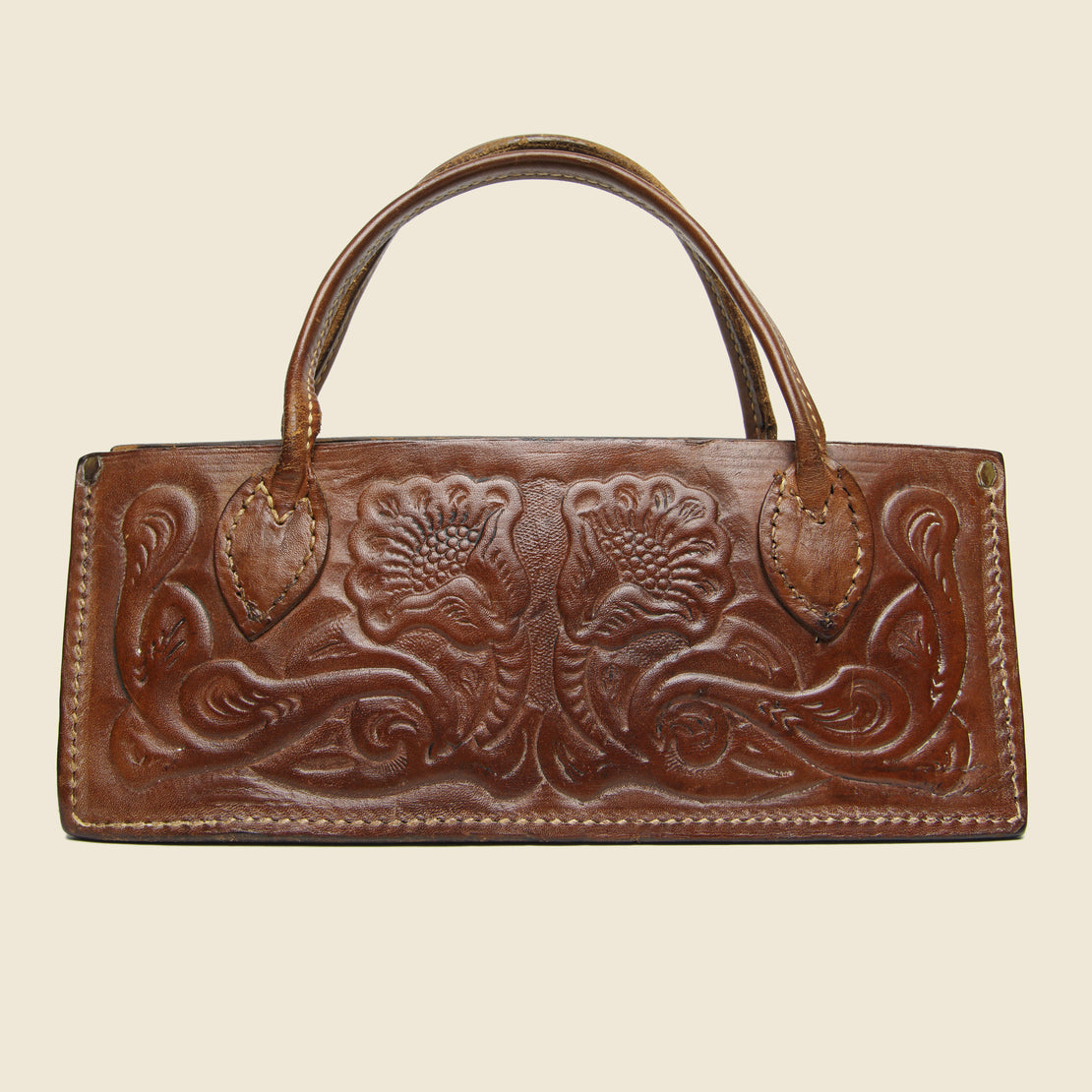 Vintage Tooled Leather Bag - Brown