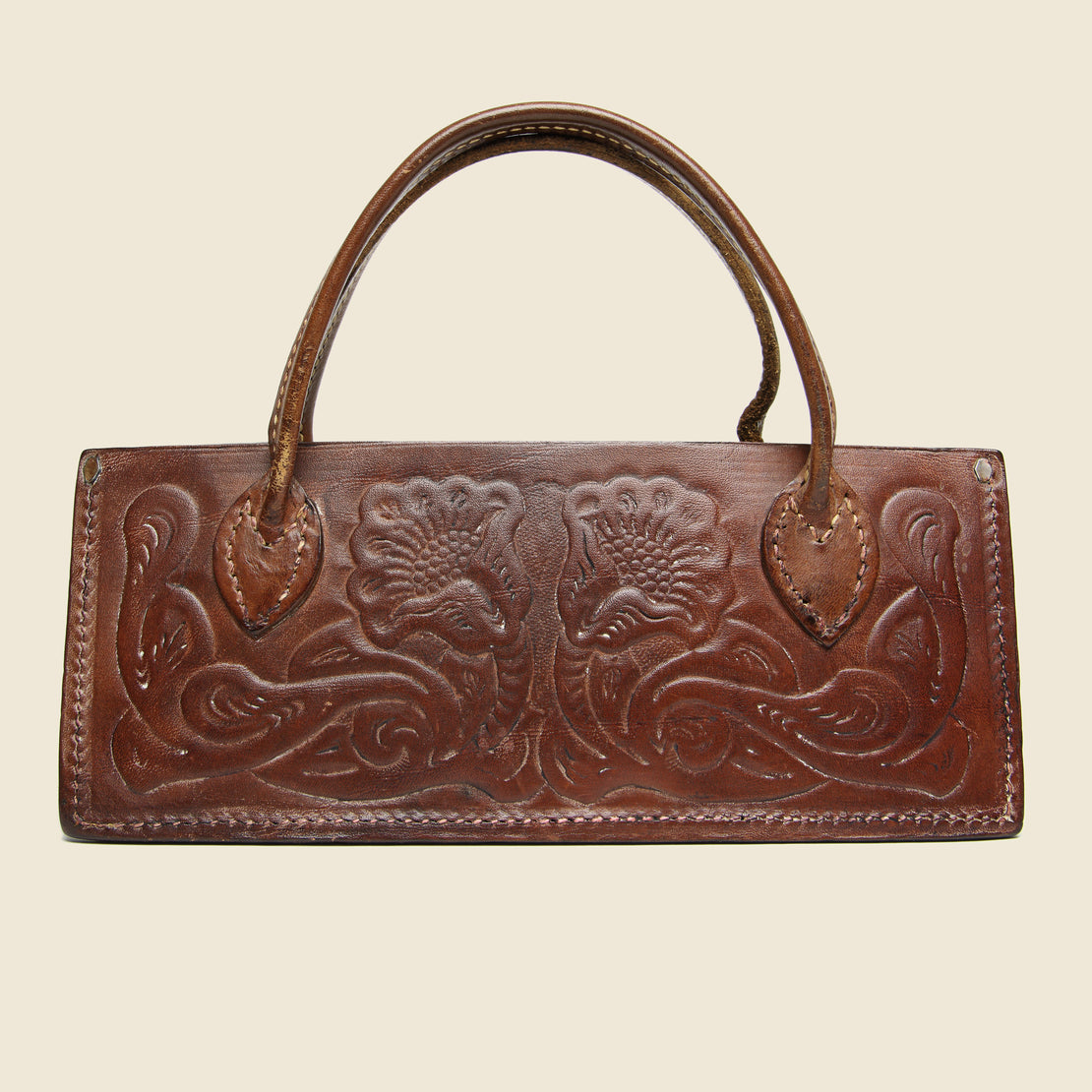 Tooled Leather Bag - Brown