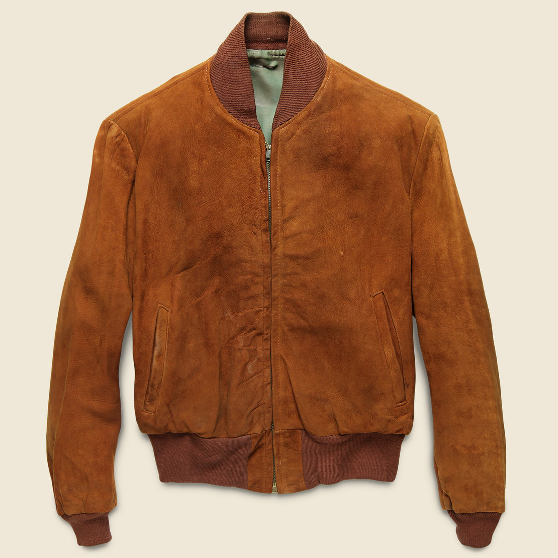Vintage Suede Bomber Jacket - Copper