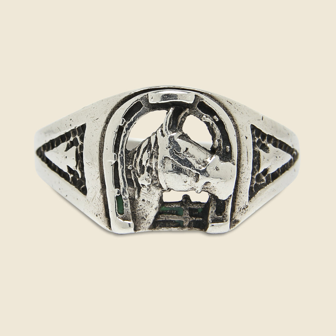 Horse & Horseshoe Ring - Sterling Silver