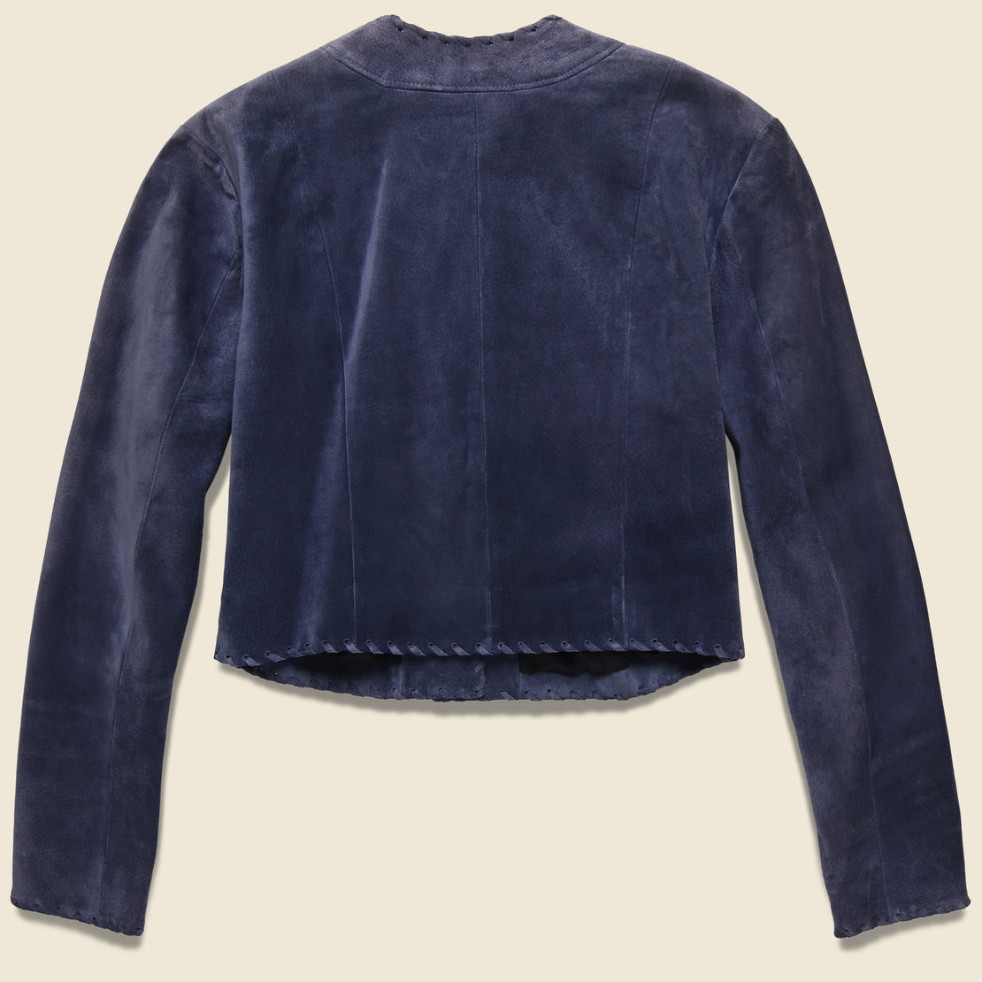 Santa Fe Suede Western Cropped Coat - Dusty Blue