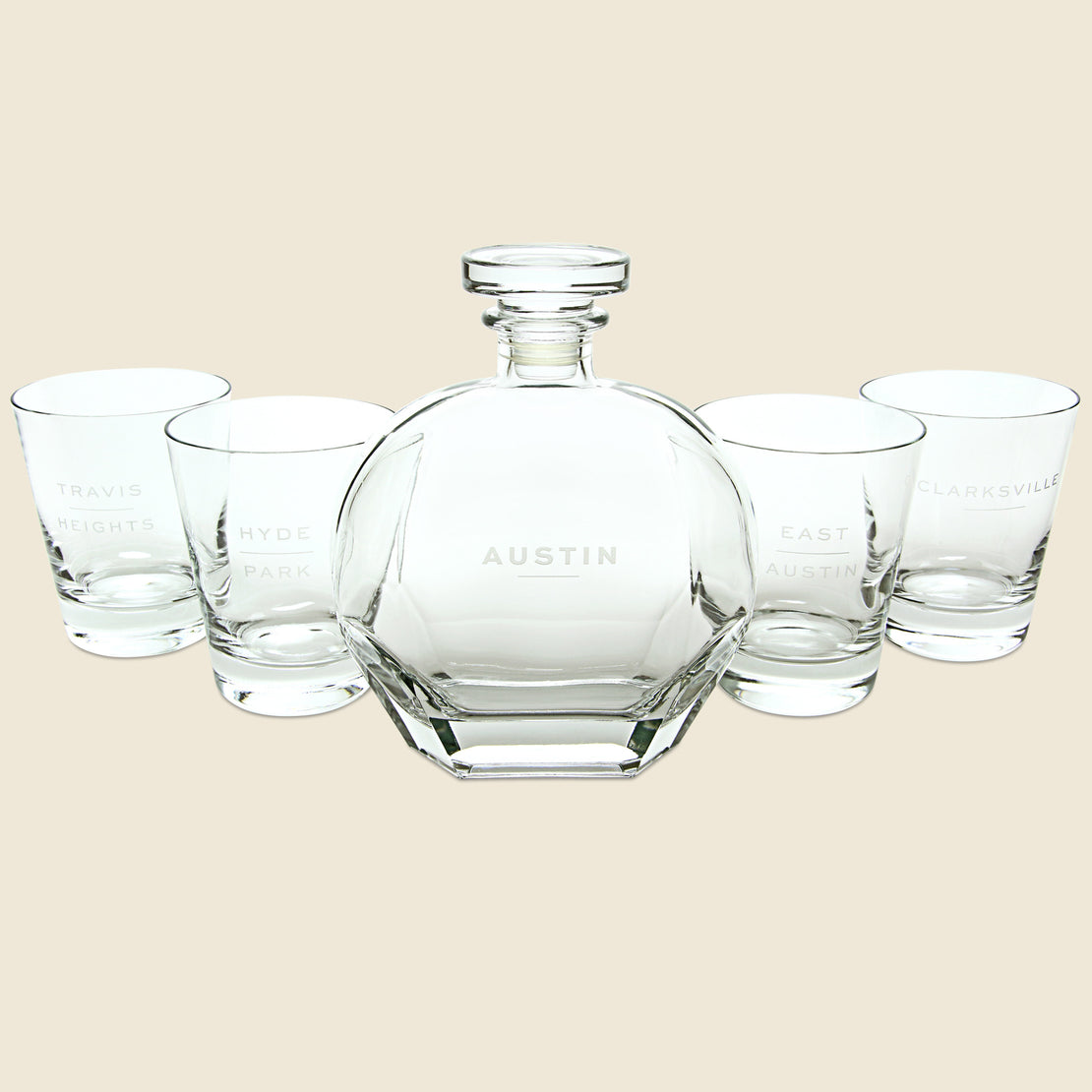 Barware Decanter & Tumbler Set - Austin Neighborhoods