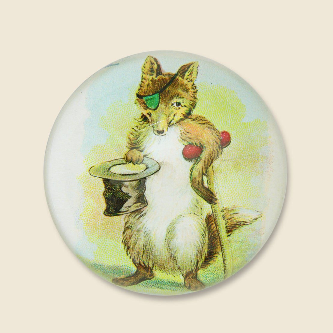John Derian Dome Paperweight - Fox with Cane