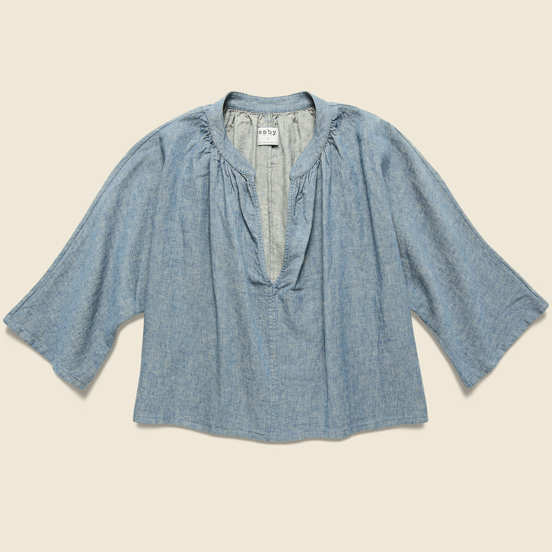 Esby Lily Top - Chambray Herringbone