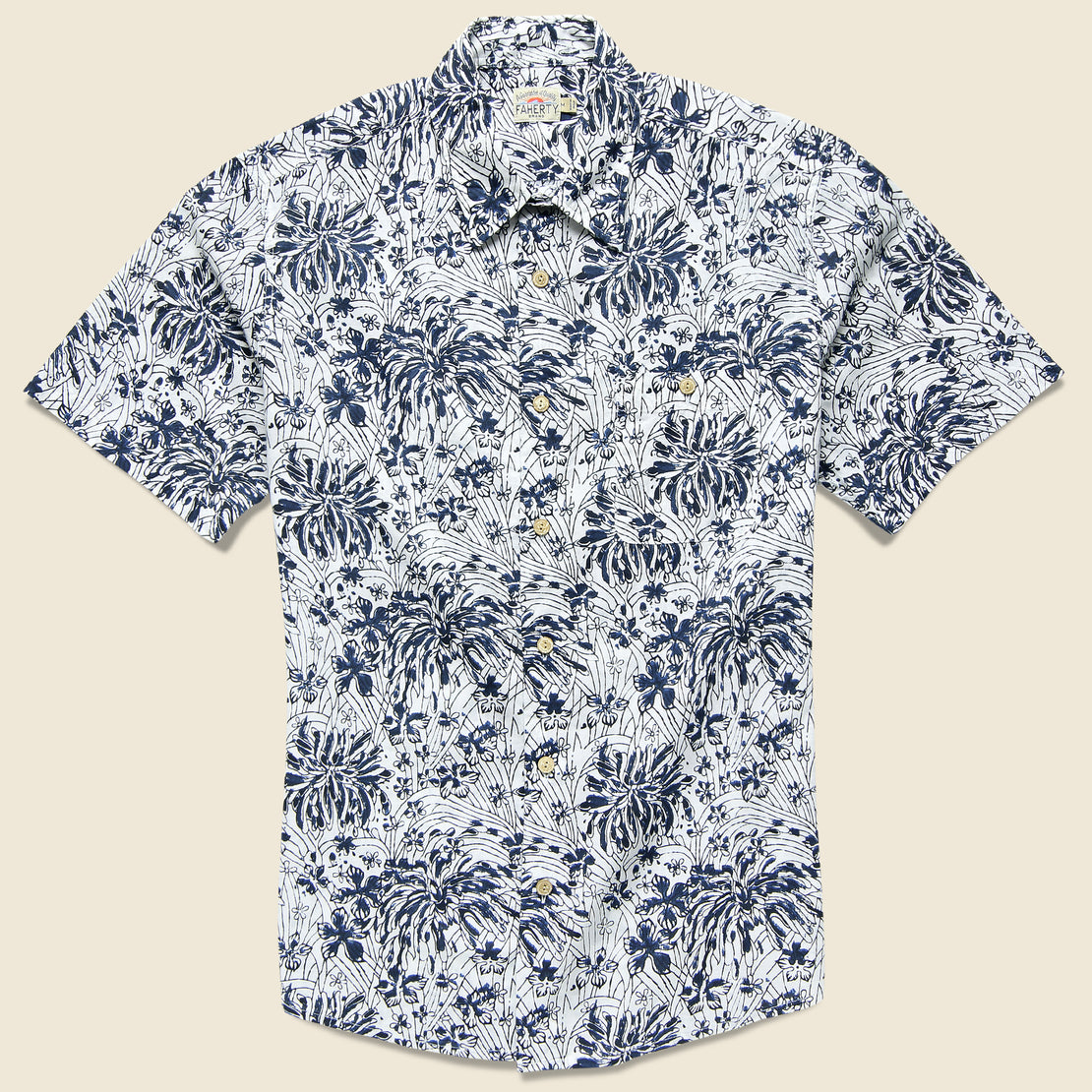 Faherty Poppy Coast Shirt - Navy/White