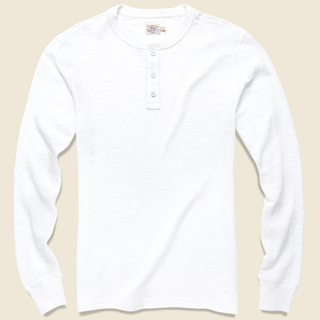 Faherty Slub Cotton Henley - White