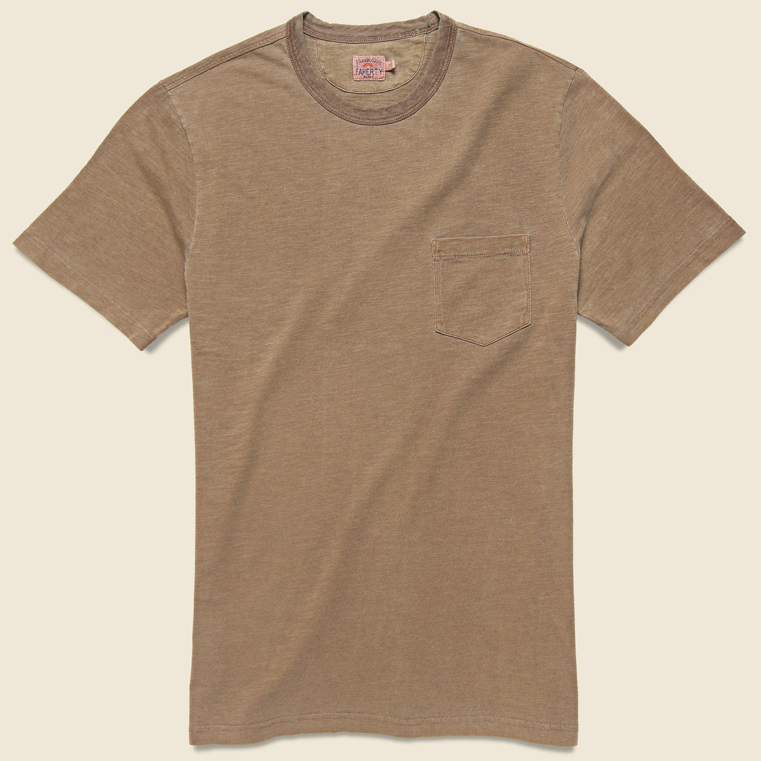 Faherty Garment Dyed Pocket Tee - Henna