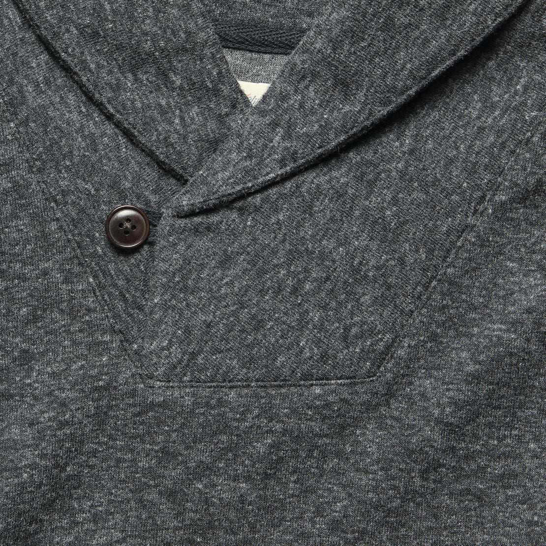 Dual Knit Shawl Collar Pullover - Washed Black