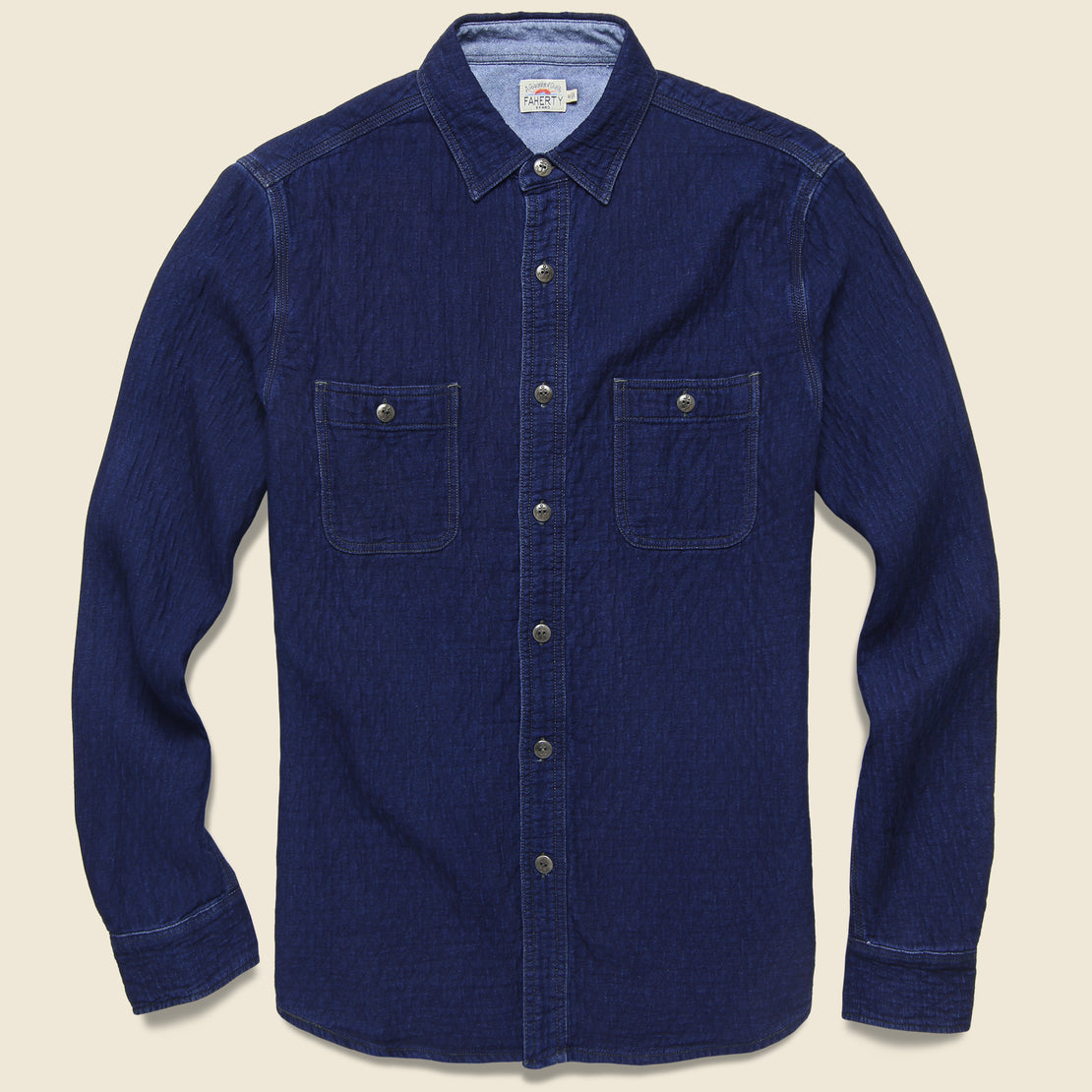 Faherty Quilted Naval Workshirt - Dark Java Wash