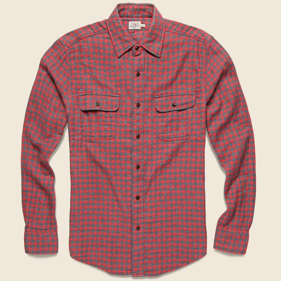 Faherty Doublecloth Belmar Shirt - Red Charcoal Buffalo
