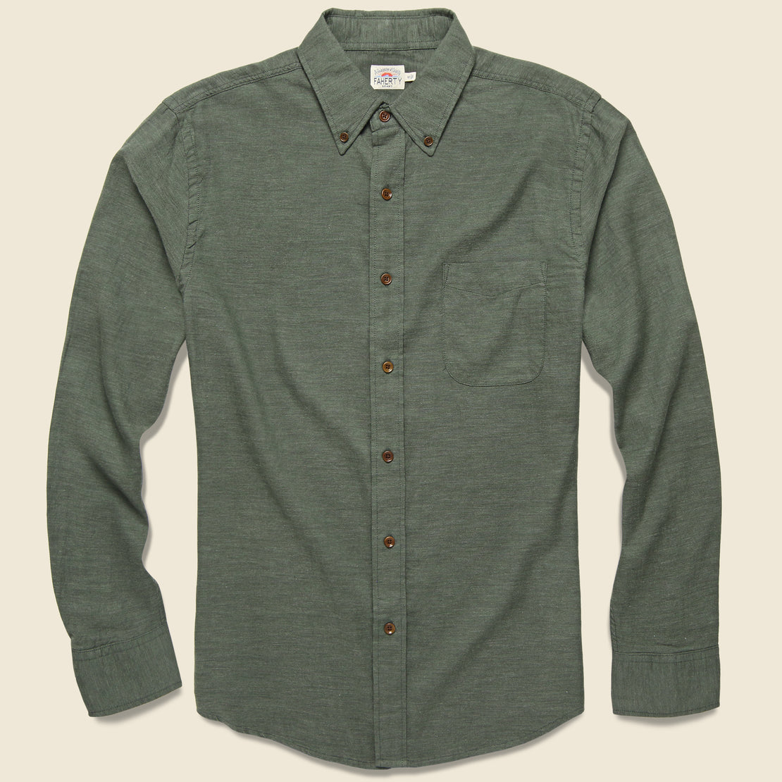 Faherty Melange Oxford Shirt - Spruce