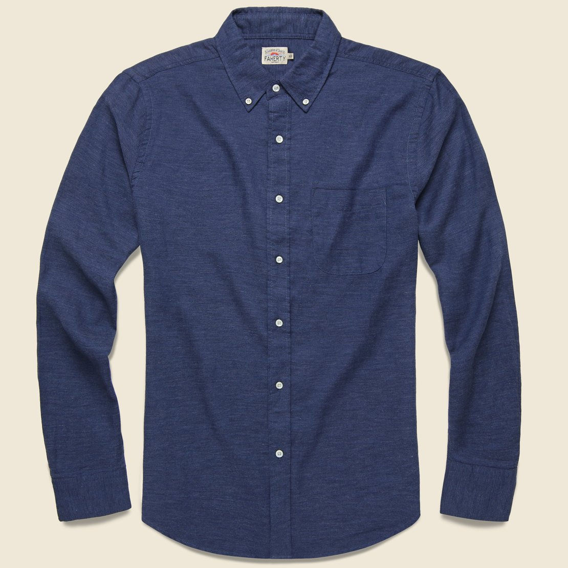 Faherty Melange Oxford Shirt - Navy