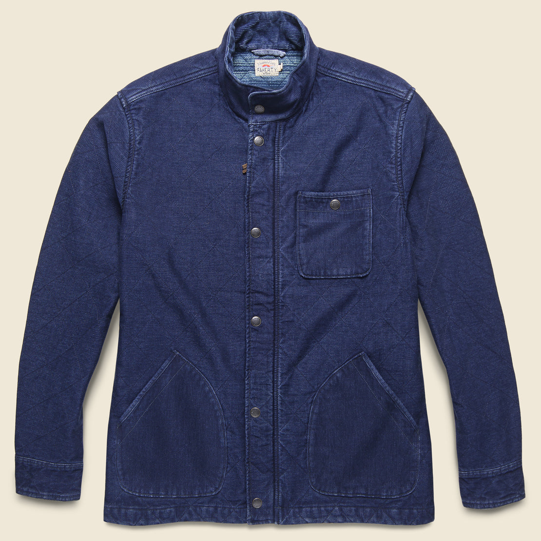 Faherty Quilted Barn Coat - Indigo