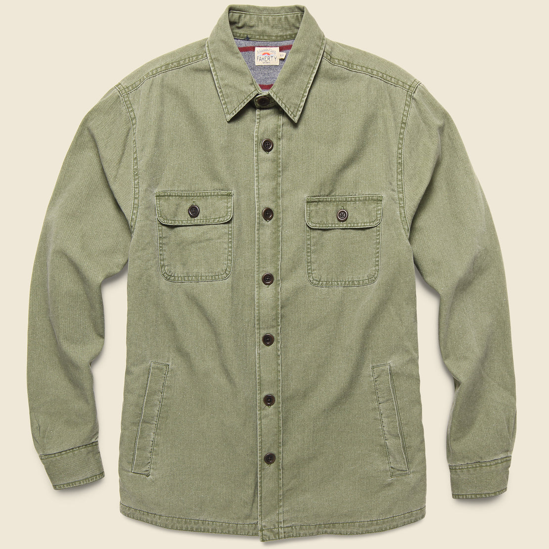 Faherty Blanket Lined CPO Shirt Jacket - Olive