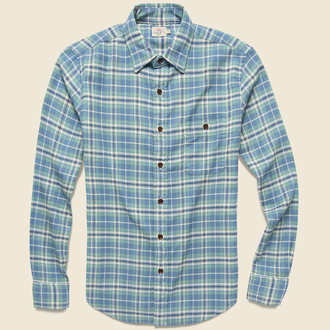 Faherty Stretch Seaview Shirt - Dusty Ocean Plaid