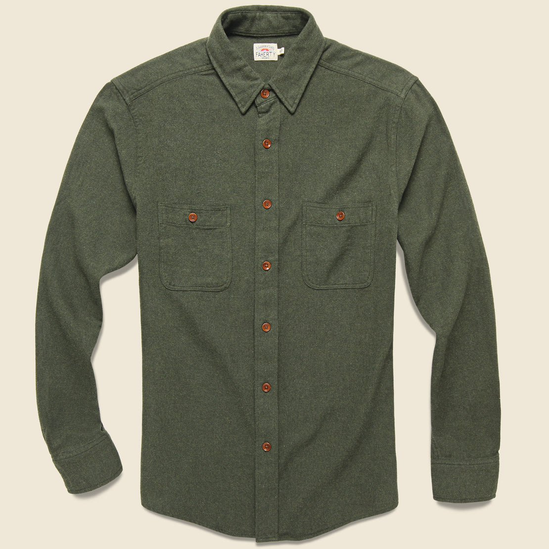 Faherty Brushed Alpine Flannel - Hunter Green