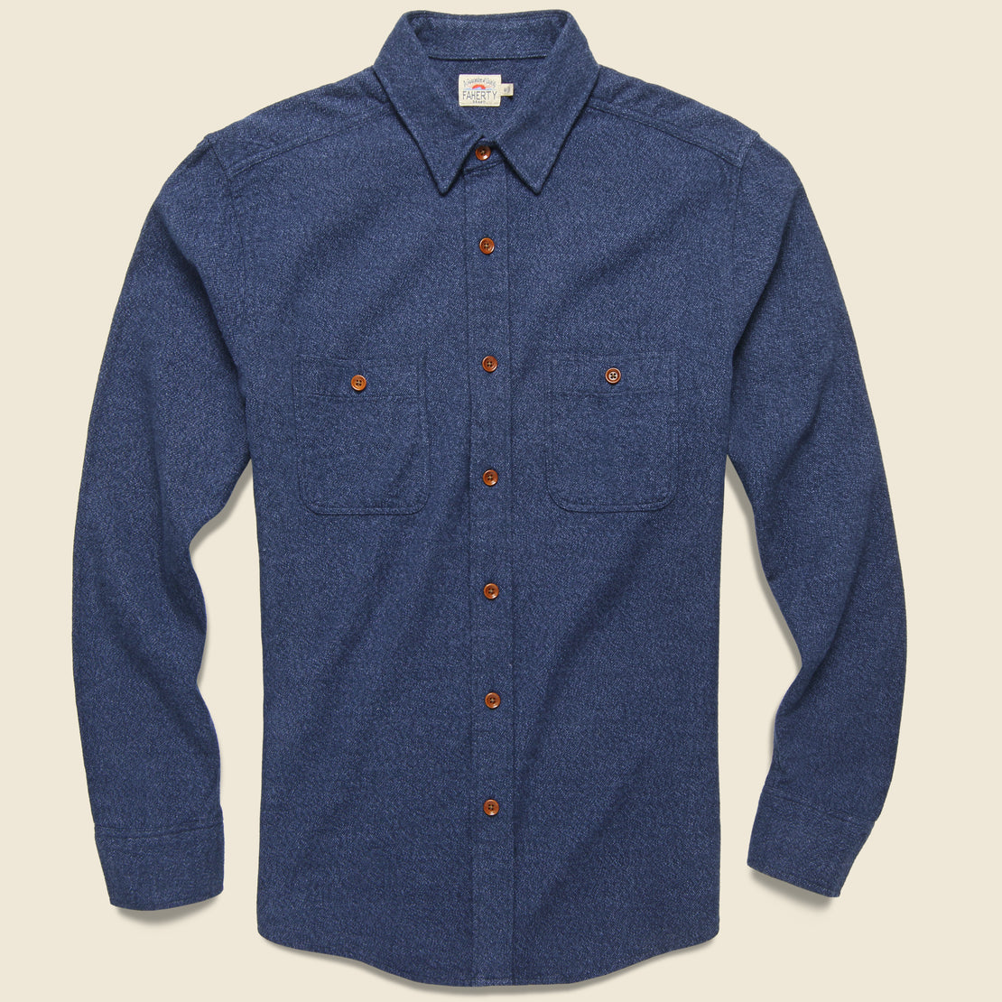 Faherty Brushed Alpine Flannel - Navy