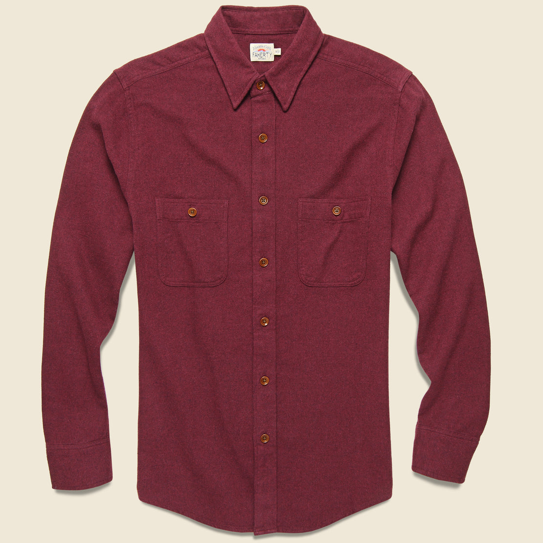 Faherty Brushed Alpine Flannel - Burgundy